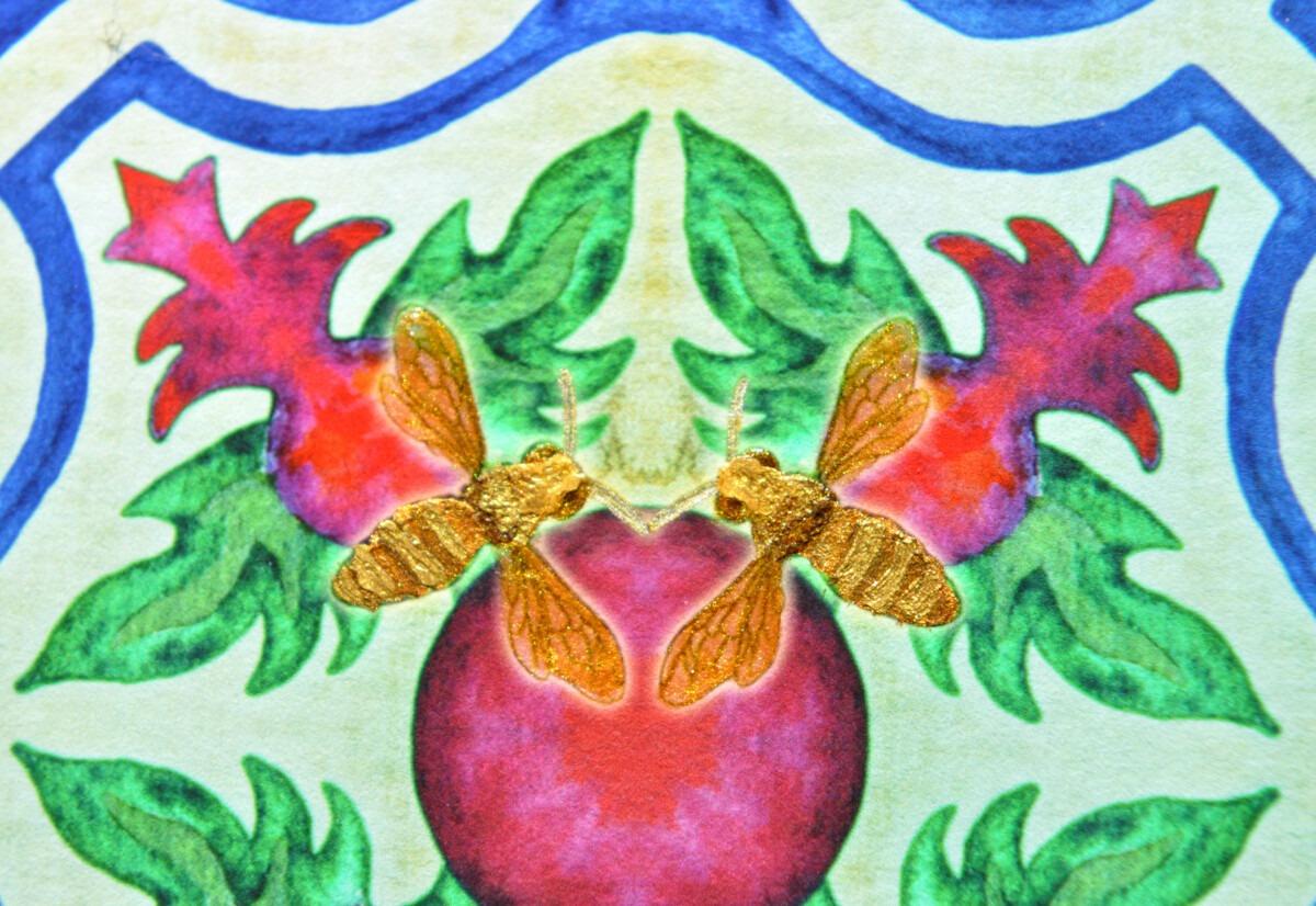 The Pomegranite and Bee Mosaic Chamsa Ketubah